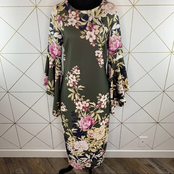 New York & Co Floral Tiered-Sleeve Sheath Dress M